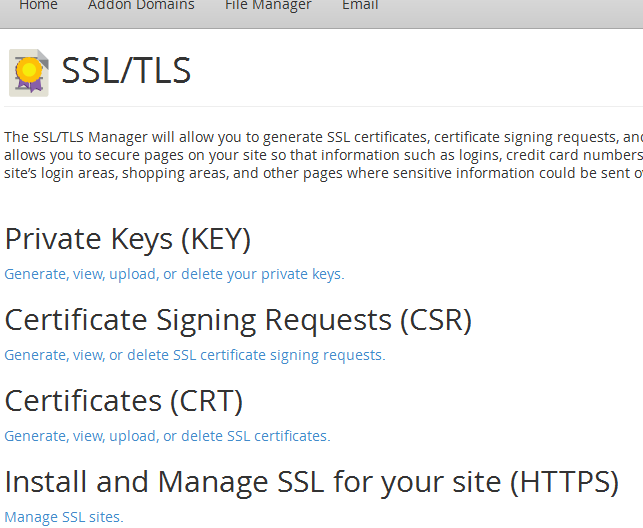 SSL Parameters in cPanel